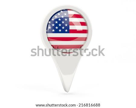 Round flag icon of united states of america isolated on white - stock photo