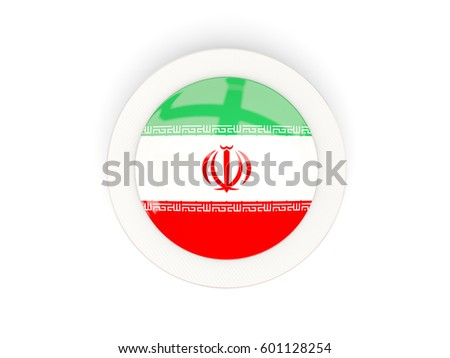 Round flag of iran with carbon frame. 3D illustration