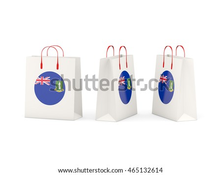 Round flag of virgin islands british on shopping bags. 3D illustration