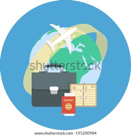 Round flat conceptual illustration of international business travel by airplane - stock photo
