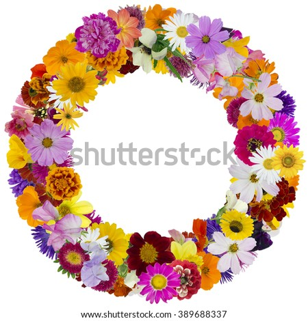 Round floral summer photo frame made from simple vivid fresh flowers. Isolated abstract collage