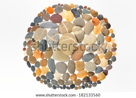 Round frame for natural stones - stock photo