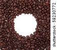 round frame made from coffee beans - stock photo