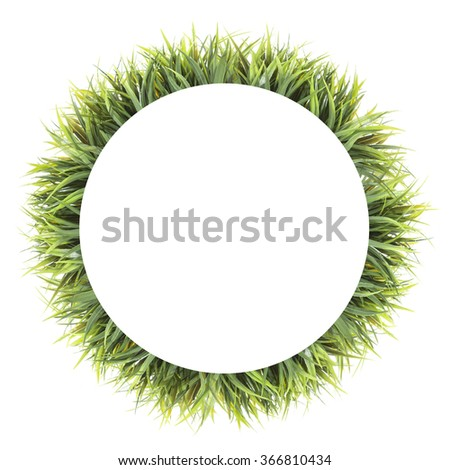 round frame of grass. Isolated on white background - stock photo
