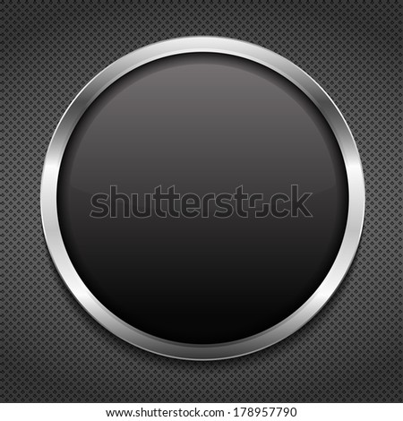 Round frame on metal background - stock photo