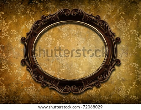 round frame on shabby wallpaper - stock photo