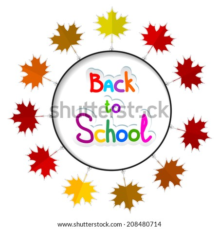 Round frame with autumn leaves. Back to school.  Raster copy - stock photo