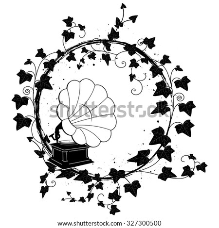 round frame with branch of ivy and gramophone - stock photo