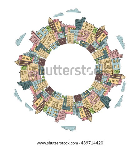 Round frame with colorful doodle city buildings. Raster illustration of abstract city with place for text. Decorative element for infographics, brochures. - stock photo