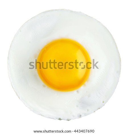 Round fried egg isolated on white
