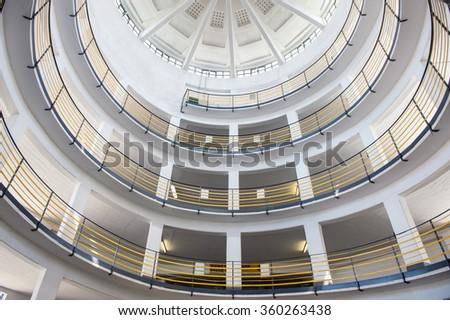 Round garage circle interior - stock photo