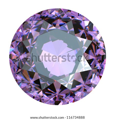 Round Gemstone isolated. amethyst - stock photo