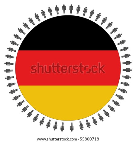 Round German flag with circle of people illustration JPEG