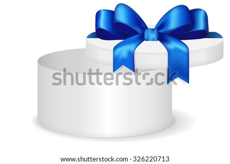 Round gift box with blue row. Open Christmas gift for men. illustration isolated on white background. Raster version.