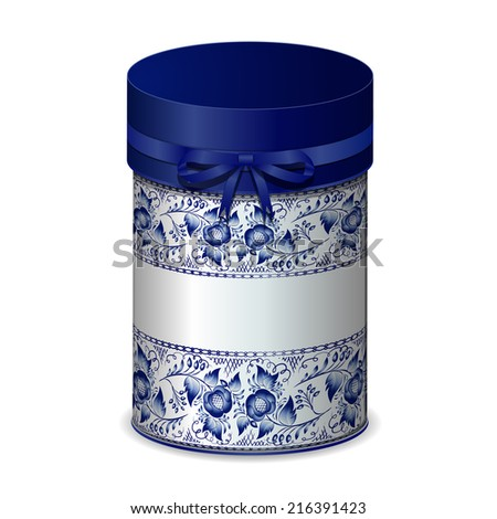Round gift box with bow and blue pattern in Gzhel style.