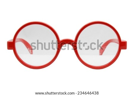 Round glasses isolated on white background, Modern sunglasses, Vintage sunglasses, Red.  - stock photo