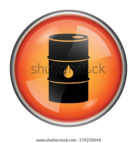 Round glossy icon with black design on orange background
