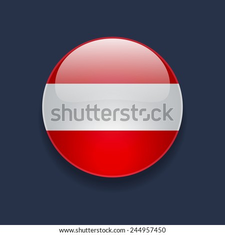 Round glossy icon with national flag of Austria on dark blue background