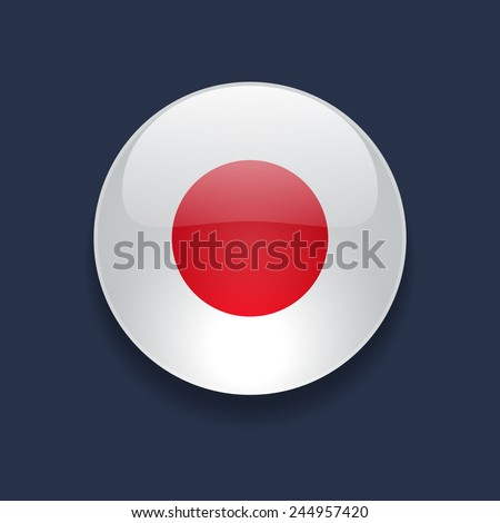 Round glossy icon with national flag of Japan on dark blue background - stock photo