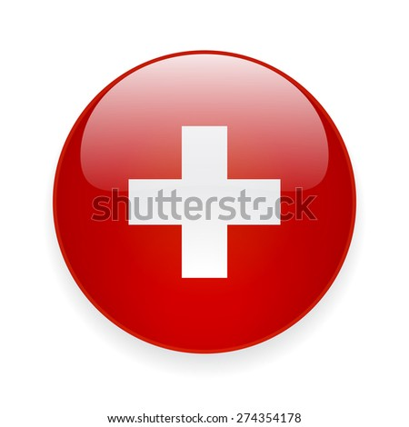 Round glossy icon with national flag of Switzerland on white background - stock photo