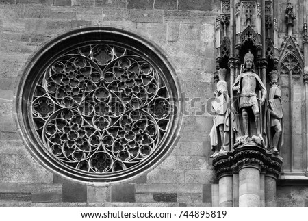 Round Gothic Window On A Facade Of The Saint Stephens Cathedral Rose And Ancient