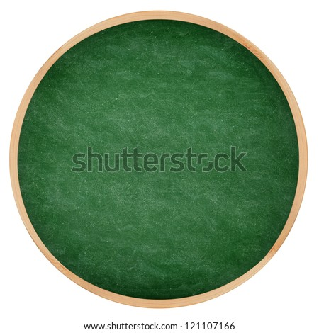 Round green chalkboard or blackboard circle texture with wood frame. From photo.
