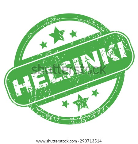 Round green rubber stamp with name Helsinki and stars, isolated on white - stock photo