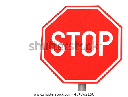Round grungy road and traffic sign - stock photo