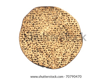 Round hand-made matza  eaten on the Jewish holdiay of Passover. - stock photo