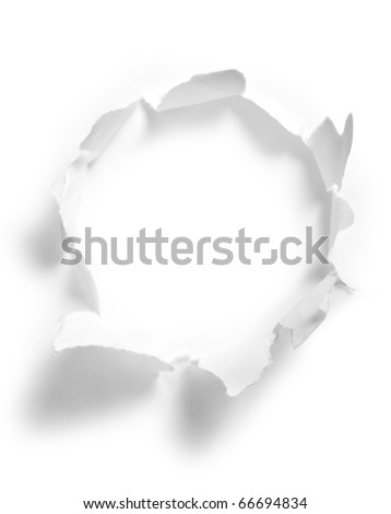 Round hole in paper with white background inside - stock photo