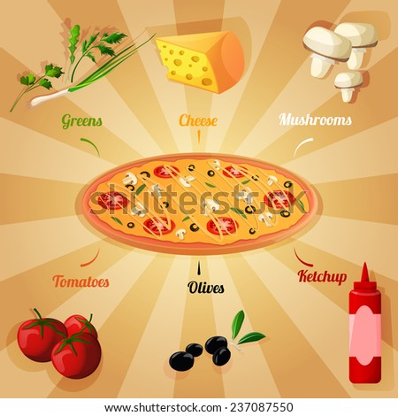 Round hot delicious tasty meat cheese olive tomato mushroom pizza poster  illustration - stock photo
