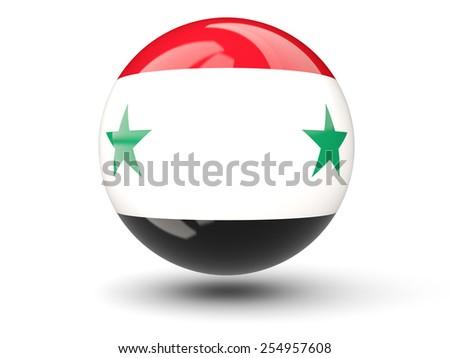 Round icon of flag of syria isolated on white - stock photo