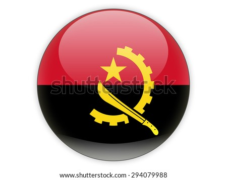 Round icon with flag of angola isolated on white - stock photo