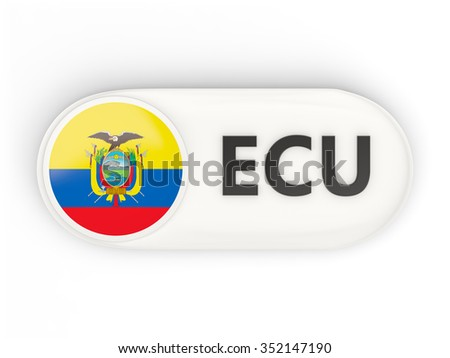 Round icon with flag of ecuador and ISO code - stock photo