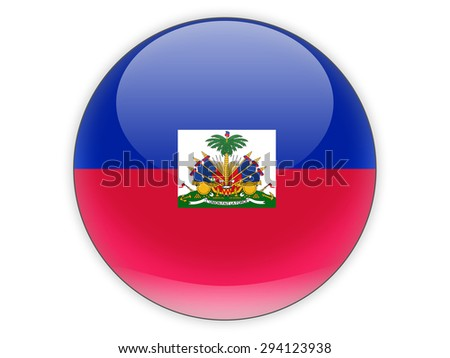 Round icon with flag of haiti isolated on white - stock photo
