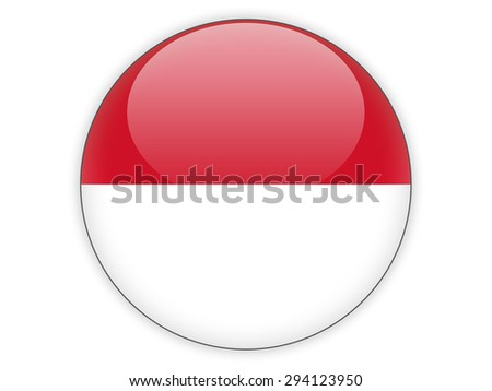 Round icon with flag of indonesia isolated on white - stock photo