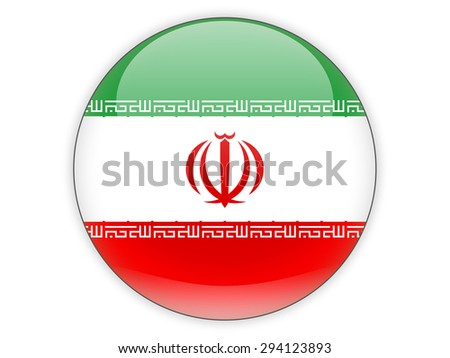 Round icon with flag of iran isolated on white