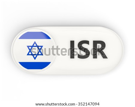Round icon with flag of israel and ISO code - stock photo