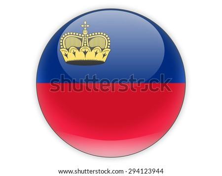 Round icon with flag of liechtenstein isolated on white - stock photo