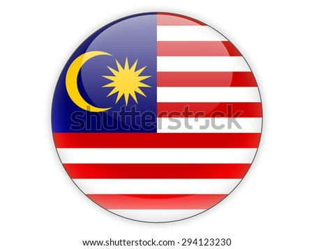 Round icon with flag of malaysia isolated on white
