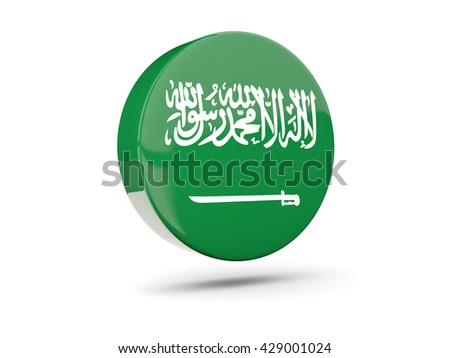 Round icon with flag of saudi arabia. 3D illustration