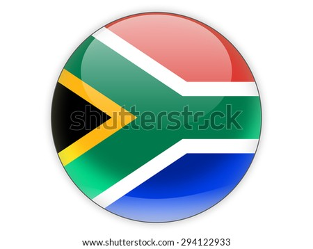 Round icon with flag of south africa isolated on white