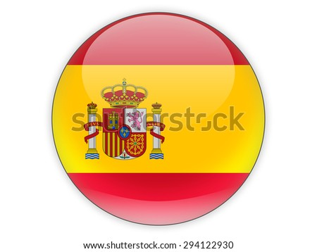 Round icon with flag of spain isolated on white - stock photo
