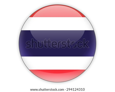 Round icon with flag of thailand isolated on white - stock photo