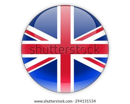 Round icon with flag of united kingdom isolated on white - stock photo