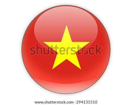Round icon with flag of vietnam isolated on white - stock photo