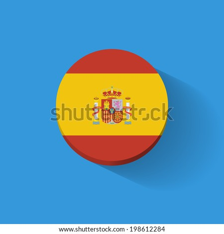 Round icon with national flag of Spain. Flat design. Raster illustration. - stock photo