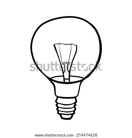 Round light bulb filament. Contour drawing. - stock photo