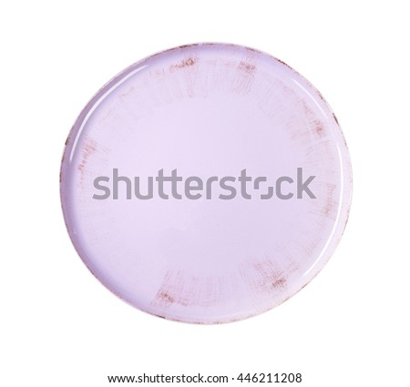 Round lilac color serving dish - stock photo