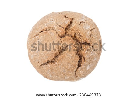round loaf of black bread with cracks isolated on white background. Shallow depth of field